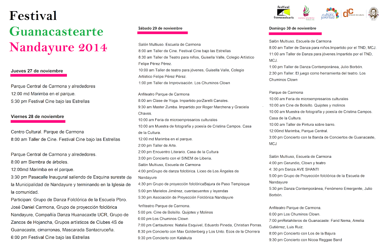 Programa del Festival Guanacastearte.