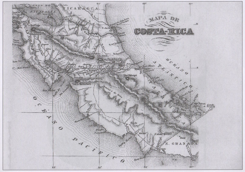 Mapa de Costa Rica tomado del libro Bosquejo de la República de Costa Rica (1850), de Felipe Molina, publicado en Nueva York en 1851. Reedición de la EUNED, 2007.