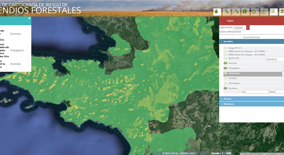 Sistema de Cartografía de Riesgos de Incendios Forestales.