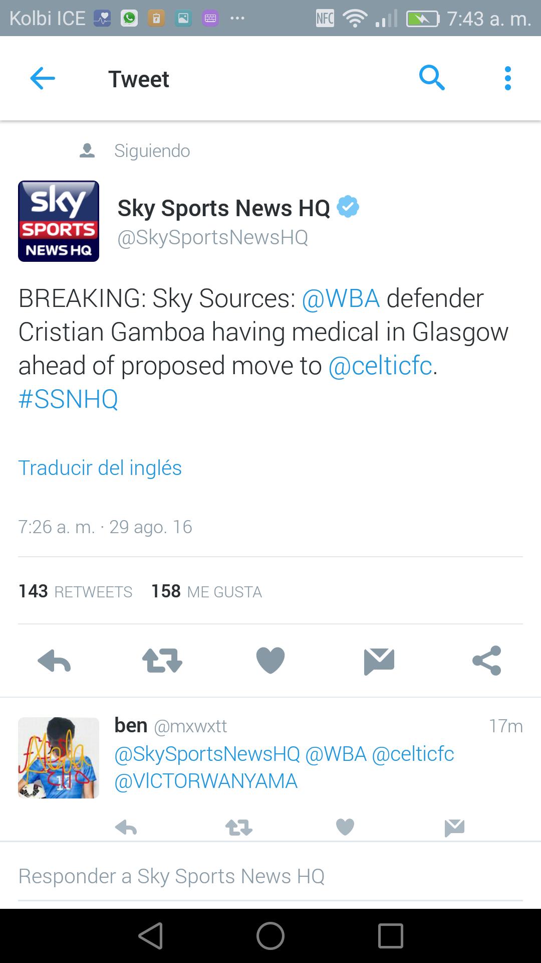 Twitter oficial de la cadena SKY Sports.