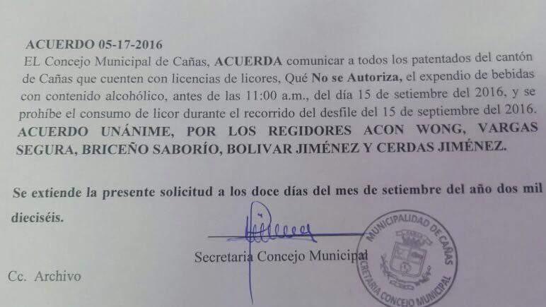 Documento donde se oficializa la ley seca en Cañas.
