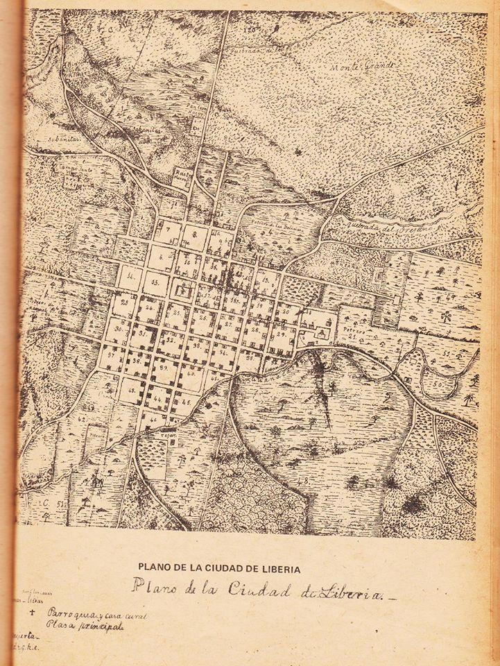 Plano antiguo de la Ciudad de Liberia